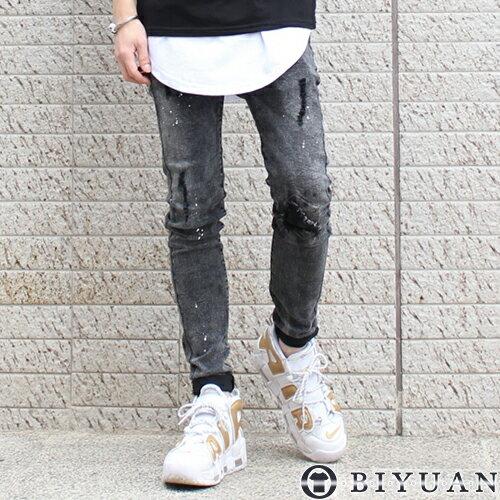 個性刷色破壞加工牛仔褲【Y0518】OBIYUAN韓版潑漆刀割刷破丹寧褲共1色