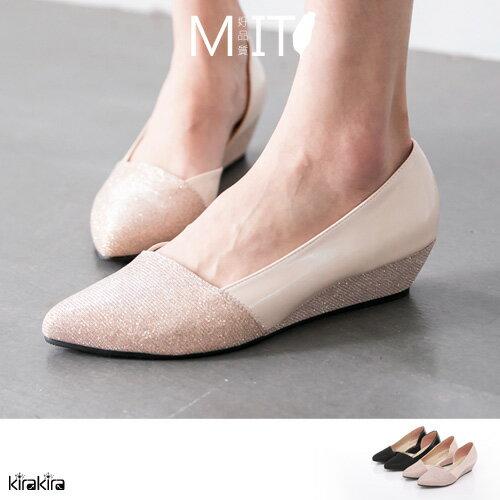 楔型鞋-迷人閃耀楔型高跟鞋【011600033】-預購