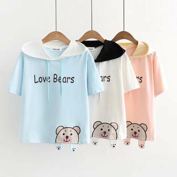 梅梅露*【55182086】可愛熊連帽短袖上衣