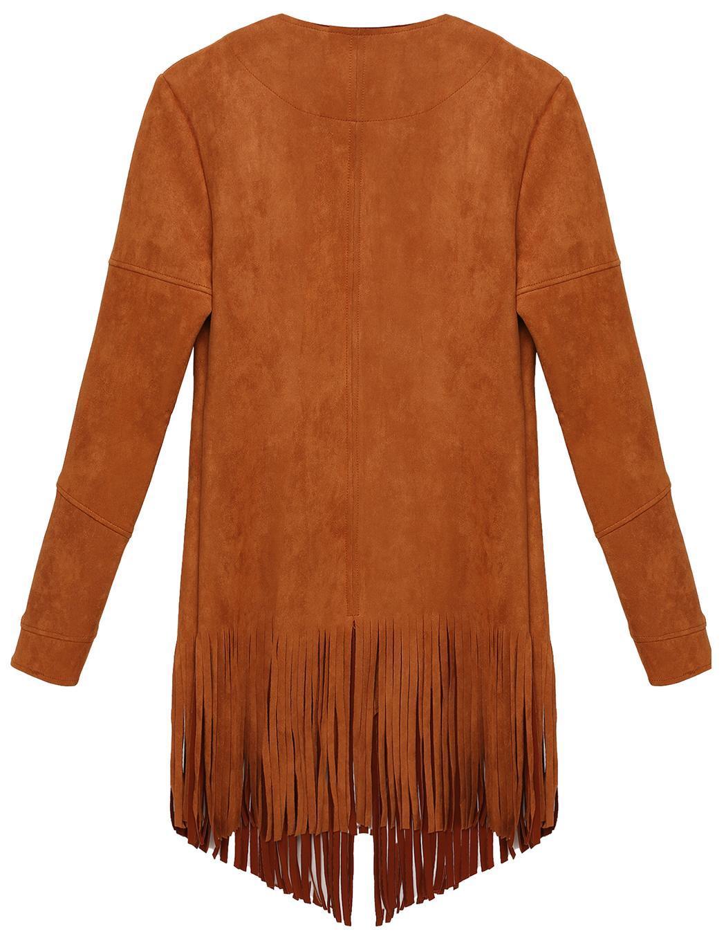 Women Casual Cardigan Long Sleeve Solid Tassel Long Coat 4