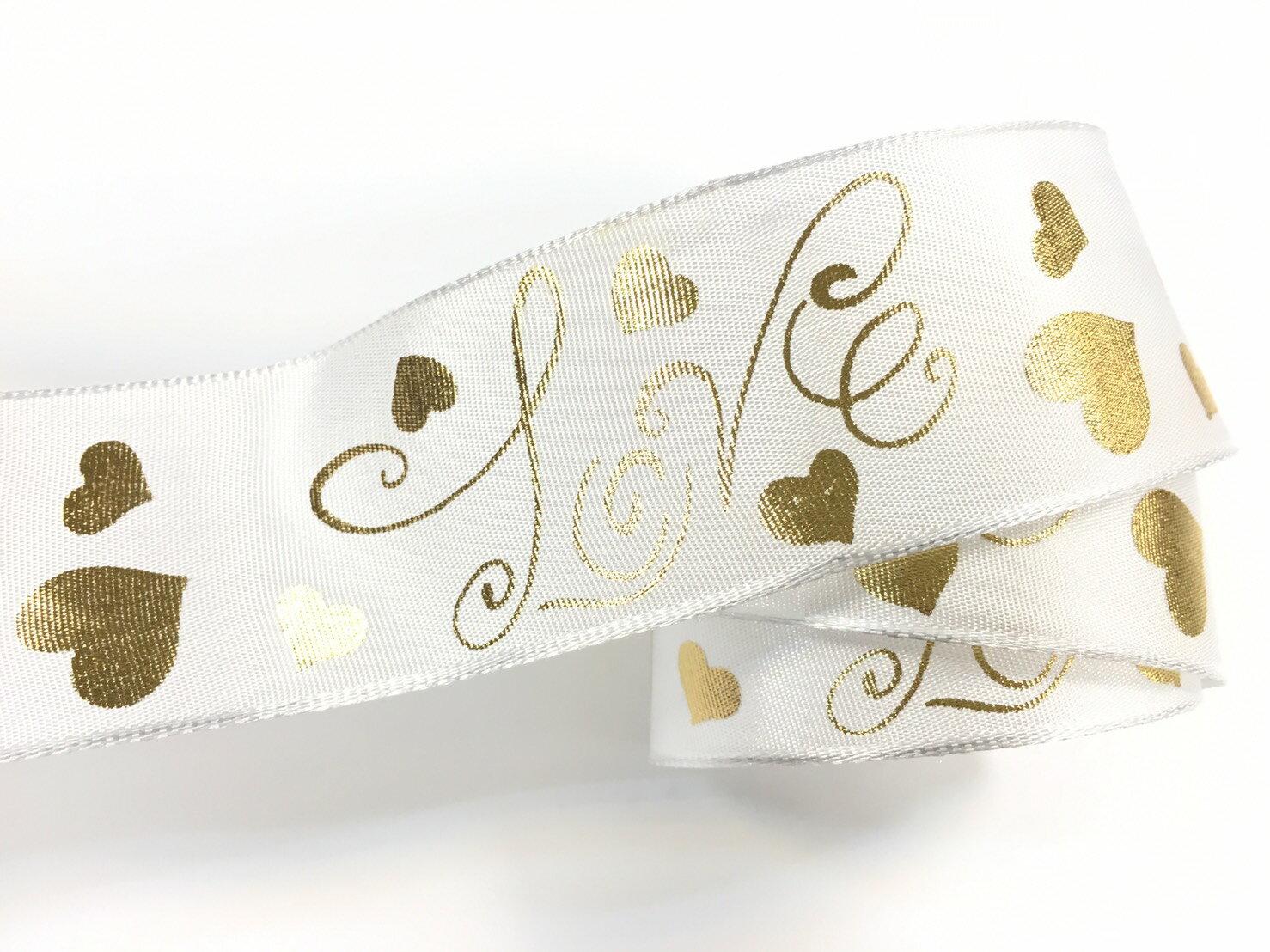 愛心love+鐵絲緞帶 38mm3碼 (2色) 0