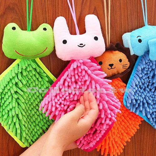 【F17030203】可愛卡通動物大頭超強吸水雪尼爾擦手巾 可掛式廚房浴室擦手方巾
