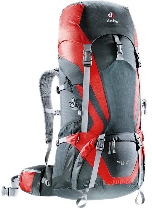 【鄉野情戶外專業】 Deuter |德國| ACT Lite 65+10 拔熱式透氣輕量背包《男款》/健行背包 登山背包-黑/紅/4340115 【容量65+10L】