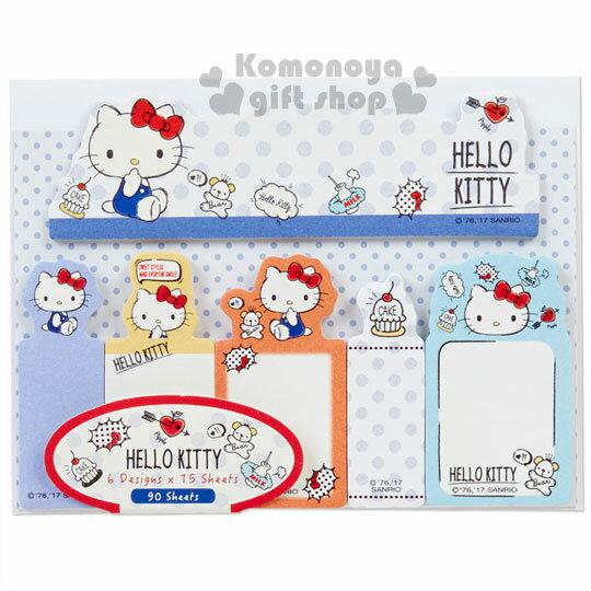 〔小禮堂〕Hello Kitty 日 型自黏便利貼《藍.點點.小熊.蛋糕.90張》6種圖案
