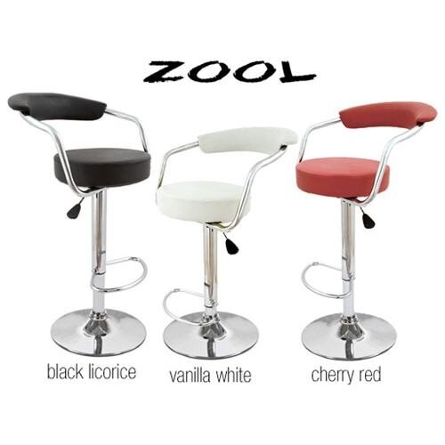 Zool Contemporary Adjustable Faux Leather Barstool - Vanilla White 0