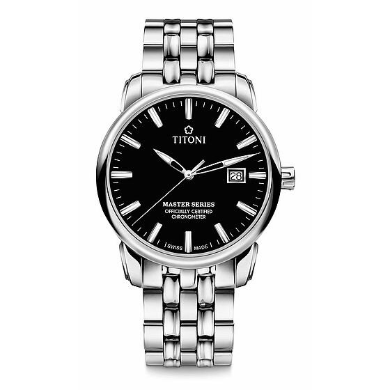 TITONI瑞士梅花錶大師系列 83188S-577 精密時計自動機芯腕錶/黑面41mm