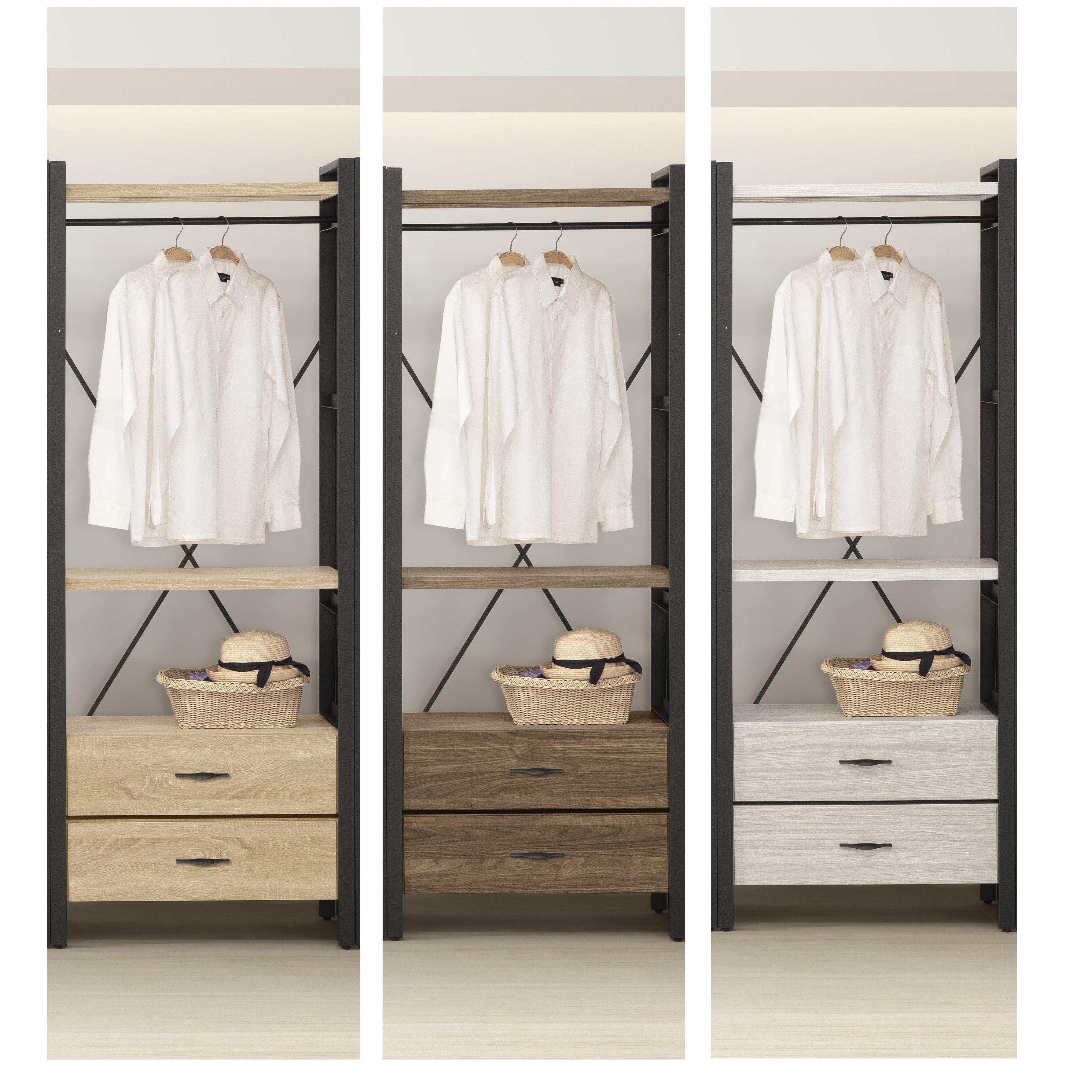 【DIY】輕工業風組合衣櫃 鐵架衣櫥 收納層架 開放式衣櫥 組合式衣櫃 2抽屜 三色 樂天雙11購物節