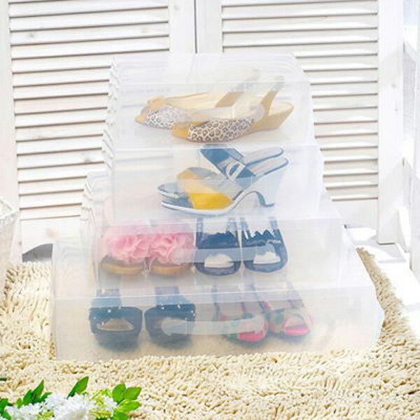 BO雜貨【YV6403】短靴款 女士透明鞋靴盒收納盒 手提水晶鞋盒 帶提把大鞋盒 加厚收納盒 塑料透明鞋盒