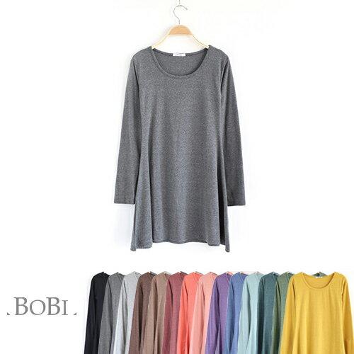 長袖洋裝 純色貼身寬下襬長袖洋裝連身裙【MZQZ16051】 BOBI  08/18 0