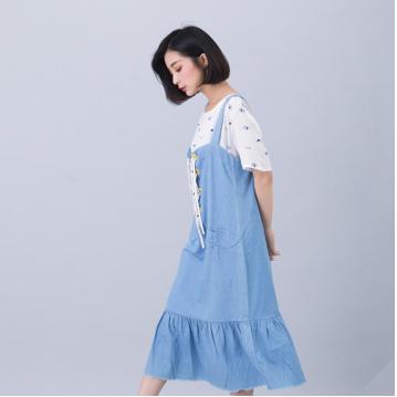 【Outlet現貨】滿2千折400  【maru.a】綁帶裝飾魚尾裙襬長洋裝(淺藍)▶全館免運
