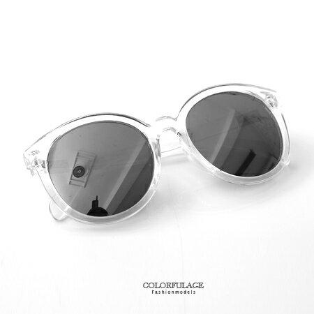 太陽眼鏡 時尚粗框圓形墨鏡 獨特同款2色鏡框搭配 中性設計多色可選 柒彩年代【NY309】抗UV400 0