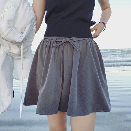 SISI【P6035】時尚休閒灰色西裝短褲裙高腰鬆緊腰帶寬管短褲褲裙