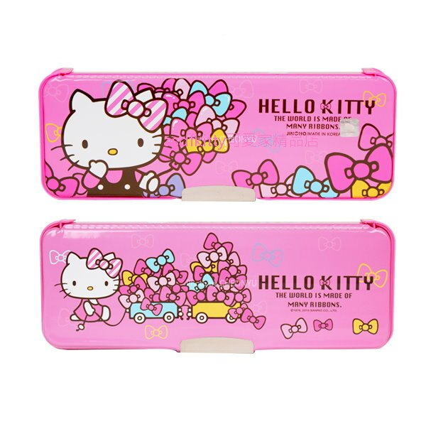asdfkitty可愛家☆KITTY粉蝴蝶結硬盒雙面鉛筆盒-韓國製