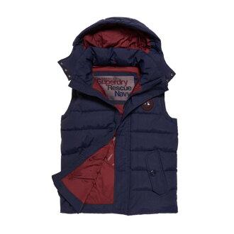 美國百分百【全新真品】Superdry 極度乾燥 Everest 連帽 背心 外套 馬甲 風衣 防風 海軍藍 S號 H735