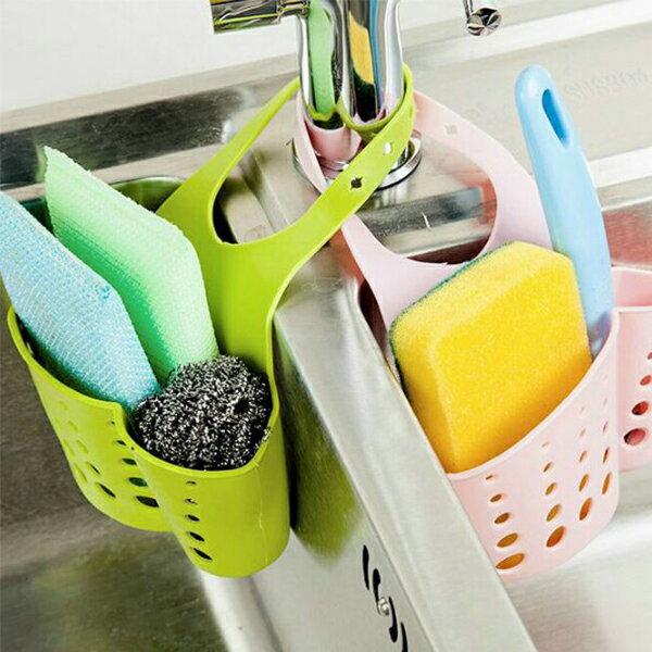 【省錢博士】可調節按扣式廚房水龍頭海綿瀝水收納掛籃