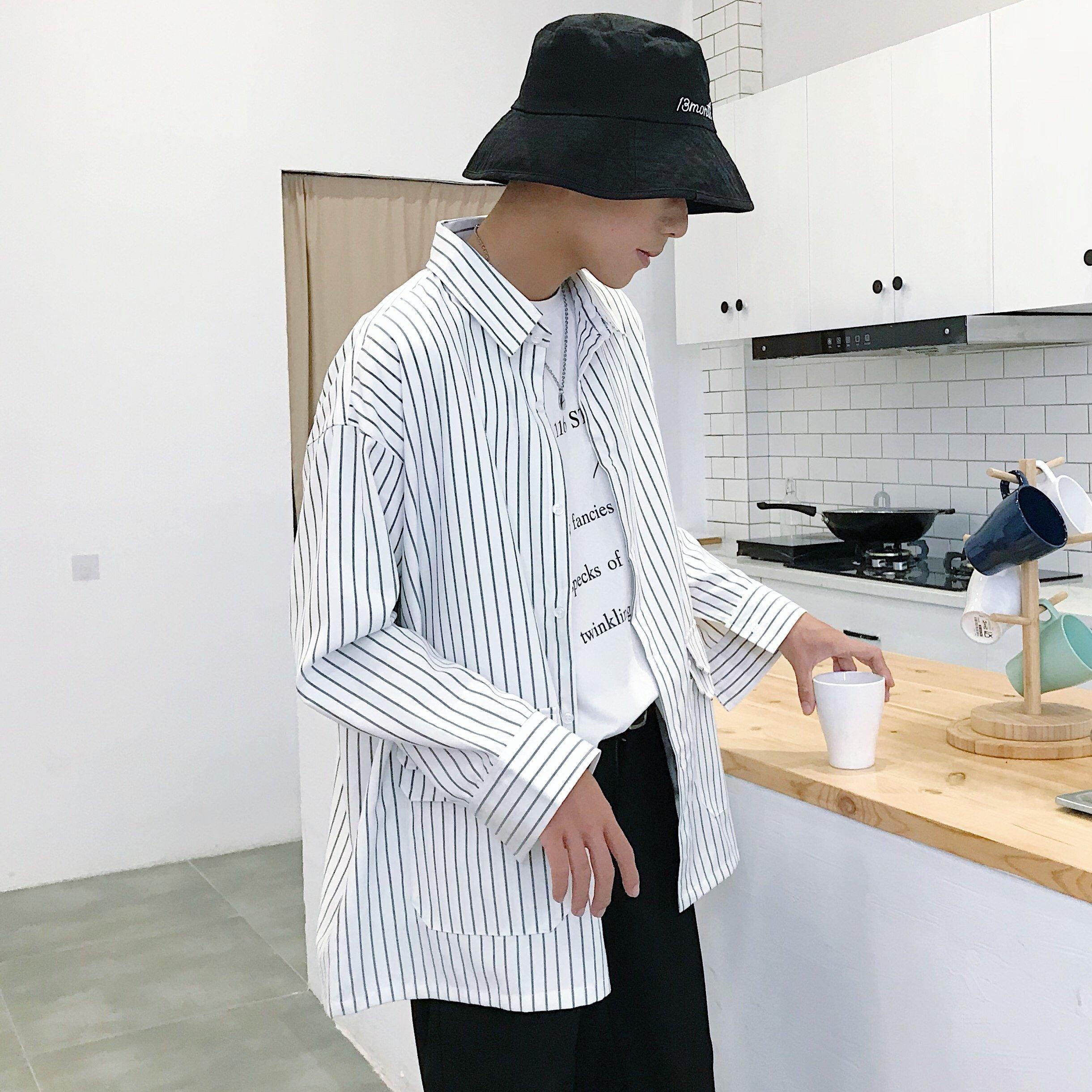 FINDSENSE品牌 秋冬款 新款 韓國 男  寬鬆 條紋 高品質 時尚 潮流 多蓋 夾克 外套