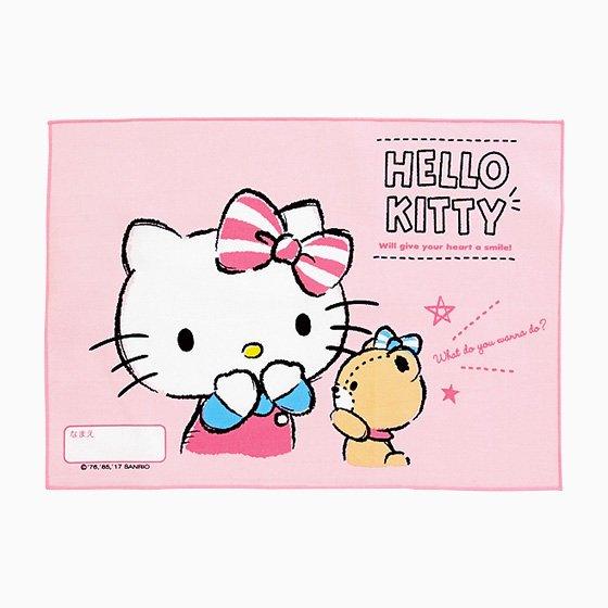 【真愛日本】17081400048 日本製純棉餐具止滑墊-KT小熊對話 三麗鷗 kitty 凱蒂貓 桌墊餐墊