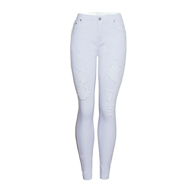 牛仔褲丹寧小腳褲-白色磨破棉質彈力女長褲73wx20【獨家進口】【米蘭精品】 1