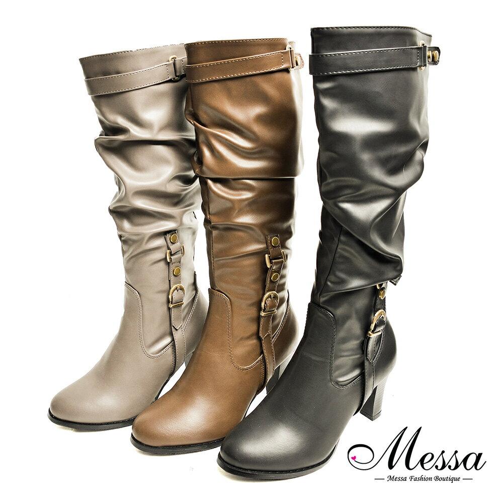 金屬扣飾拉鍊高跟長筒靴