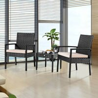 Costway Costway 3 Pieces Rattan Wicker Furniture Set Seat