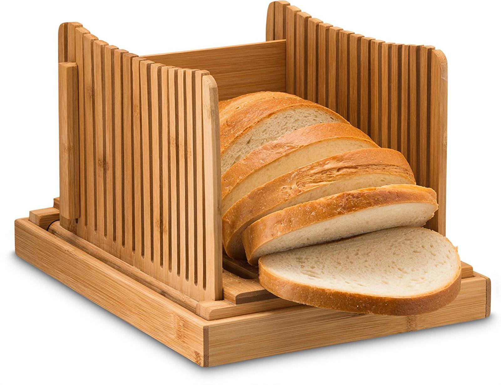 Belmint: Bambusi Bamboo Foldable Adjustable Bread Slicer w/ Crumb ...