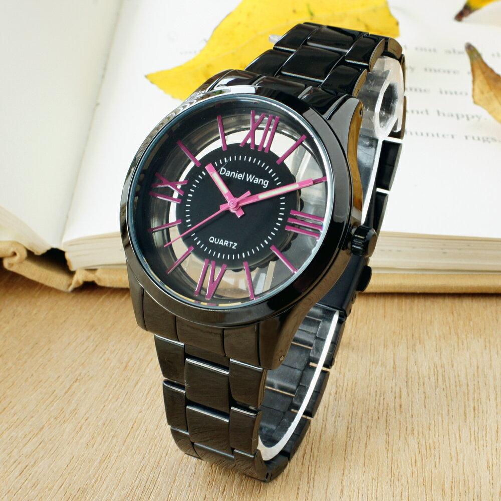 Daniel Wang 2202-IP 激似CK風格炫彩鏤空羅馬數字鐵帶錶 3