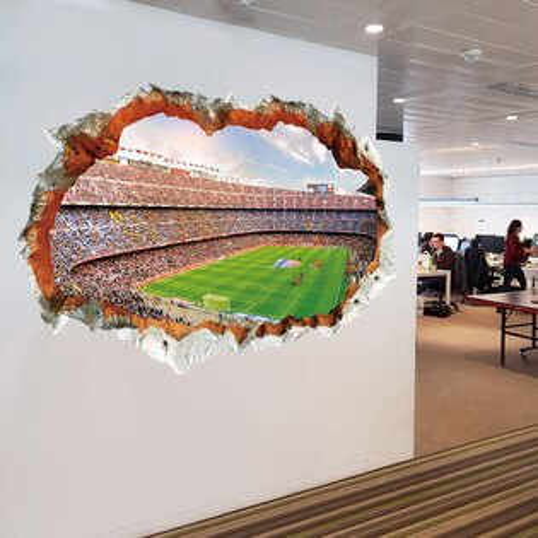 WallFree窩自在★DIY無痕創意牆貼壁貼3D世界盃XH930560x90(足球壁貼世界盃球場)