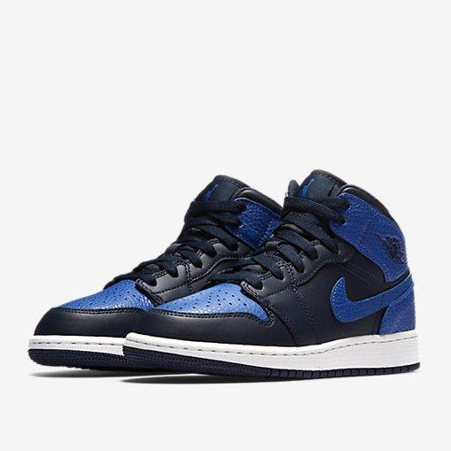 NIKE Air Jordan 1 童鞋 大童 女鞋 休閒 中童 皮革 黑 藍 【運動世界】 554725-412【會員神券 | 全會員滿$1000輸入『17May100』現折$100 | 數量有限】