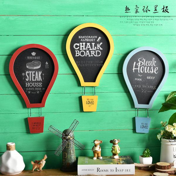 可愛美式複古彩色熱氣球兒童房裝飾黑板留言板