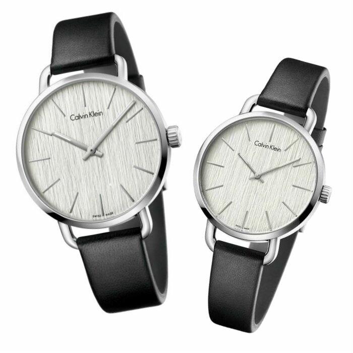 CK 卡文克萊 EVEN系列 ( K7B231C6+K7B211C6 ) 岩紋時尚腕錶 / 白面36+42mm - 限時優惠好康折扣