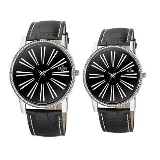 CLOIE 晶鑽時尚設計款腕錶-黑 37/43mm 男女對錶