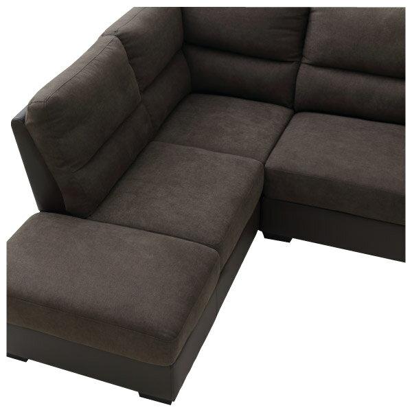 ◎(OUTLET)布質右躺椅L型加大沙發 DOUBLE LINE DBR 福利品 NITORI宜得利家居 3
