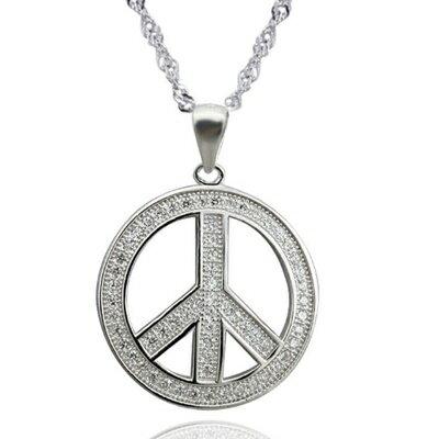 925純銀項鍊 鑲鑽吊墜~簡潔LOVE  PEACE母親節情人節生日 女飾品2色73dk2