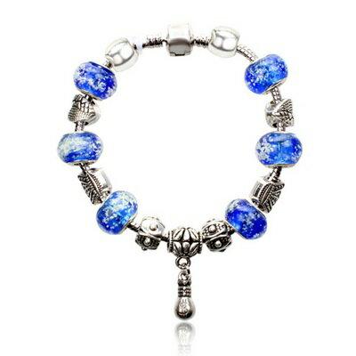 手鍊 潘朵拉元素串珠手鍊 925純銀~琉璃飾品 藍色七夕情人節生日 女 73bm113~