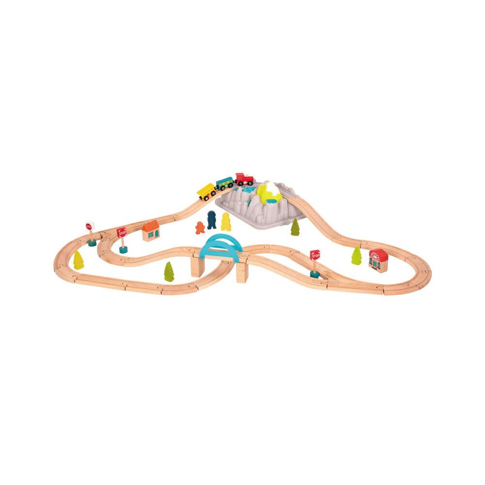 【淘氣寶寶】【美國B.Toys感統玩具】運輸地理學-山林小鎮軌道組