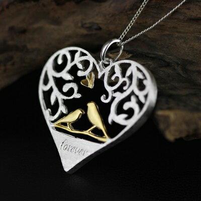 ~925純銀項鍊 吊墜~鏤空心形小鳥浪漫生日情人節 女飾品73gm41~ ~~米蘭 ~