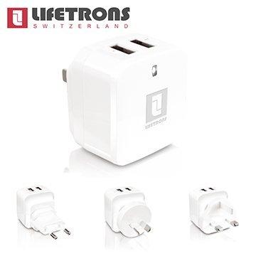 Lifetrons萬國旅行高效雙USB充電器(3.4A)旅行必備美規歐規澳規英規