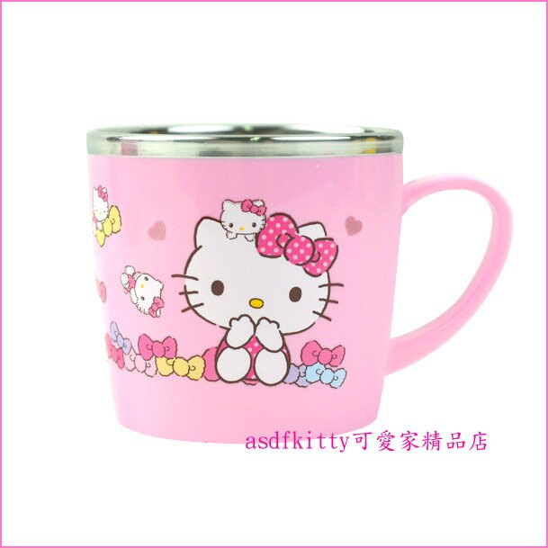 asdfkitty可愛家☆KITTY粉水玉防燙304不鏽鋼杯/學習杯/馬克杯-250ML-韓國製