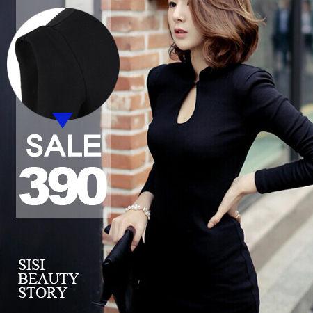 SiSi Girl:SISI【D5026】心機穿搭性感鏤空領口立領聳肩縮腰洋裝包臀顯瘦連身裙約會OL秘書