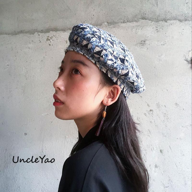 小香風藍色粗花呢可調節日式貝雷帽畫家帽子名媛風帽子女1入