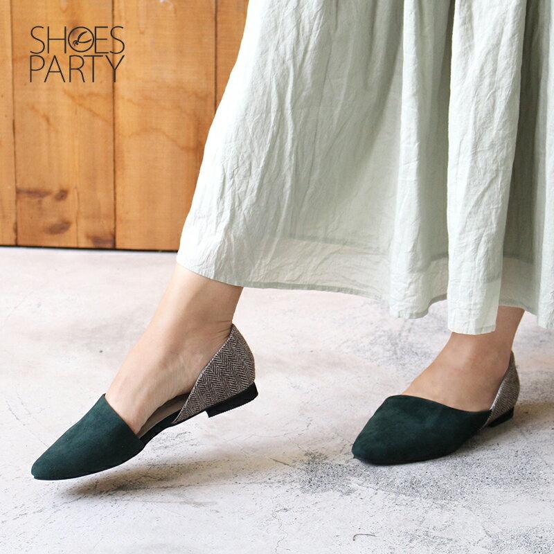 【P2-17124F】布面拼接外尖內圓便鞋_Shoes Party 2