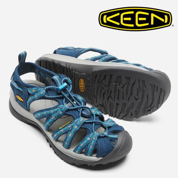 【Keen美國】WHISPER越野護趾涼鞋運動涼鞋休閒涼鞋女款深藍印花/1014206