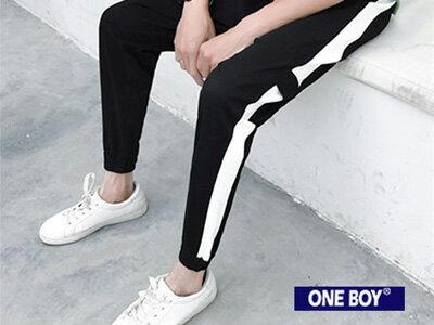『 One Boy 』【N23682】運動時尚條紋休閒束口褲
