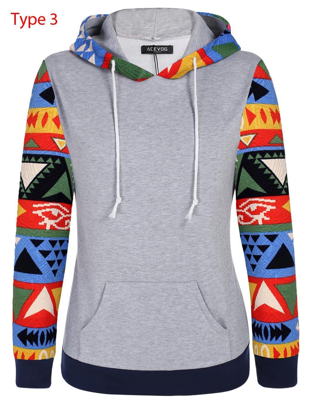 Women Long Sleeve Print Casual Hooded Pullover Hoodie 1