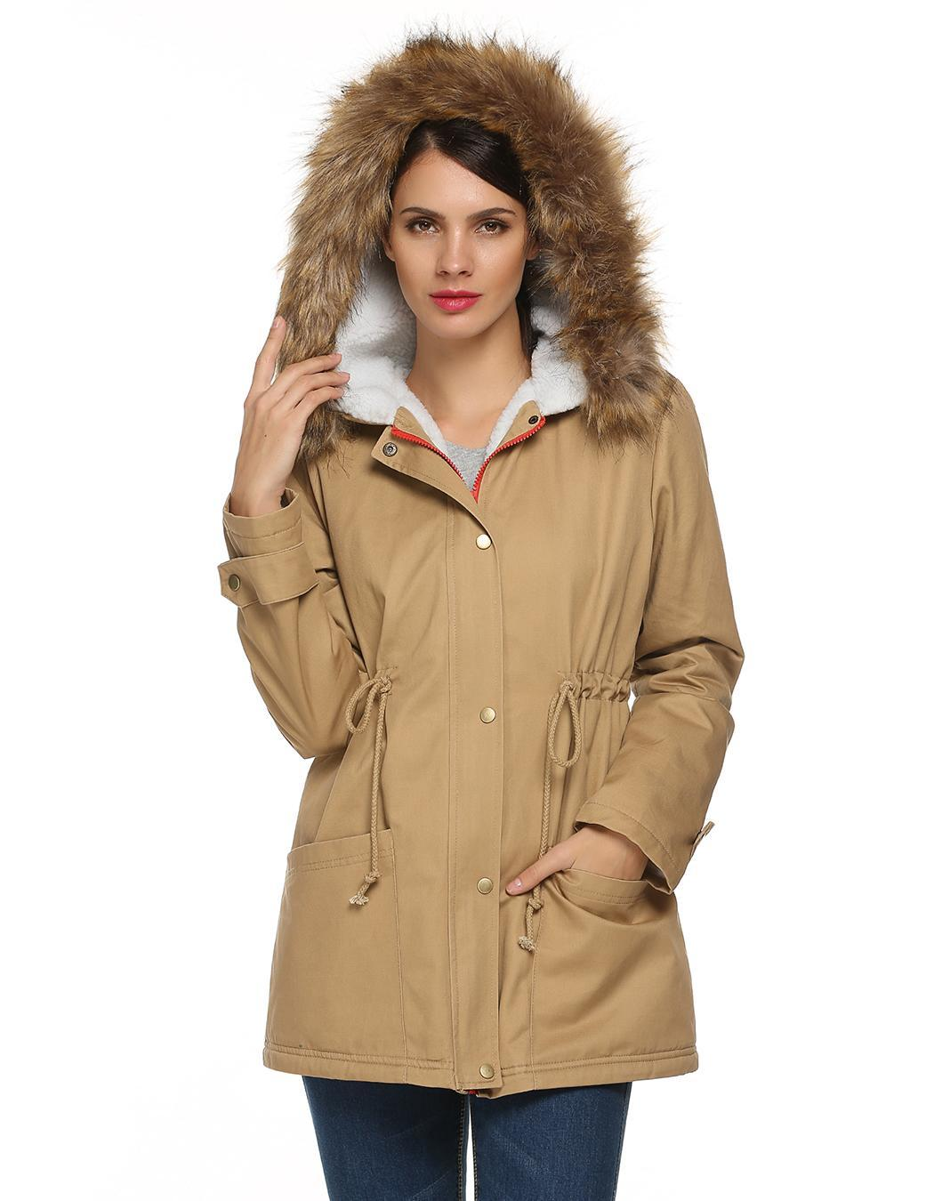 Women Zipper Hooded Warm Faux Fur Long Coat Outwear 0
