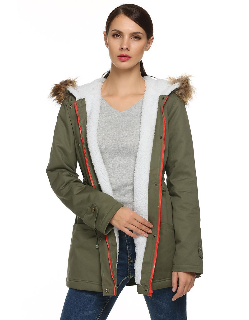 Women Zipper Hooded Warm Faux Fur Long Coat Outwear 2