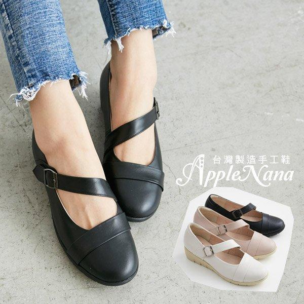 AppleNana蘋果奈奈【QC147151380】斜帶瑪莉珍巴蕾風氣墊楔型鞋 1