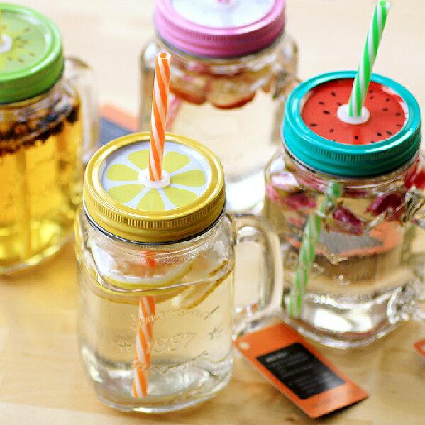 PS Mall 創意紙吸管梅森瓶水果系列 水杯 水壺 情侶杯【J2005】