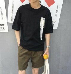 FINDSENSE MD 韓國 時尚潮 男 創意 特色 圓領 素面 字母貼布 寬鬆 短袖T恤 特色短T