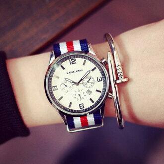 創美[W046] 韓國 潮流 大錶面 運動 休閒 簡約 英倫 尼龍 帆布 彩色 男錶 對錶 女錶 學生 手錶 皮帶 手表